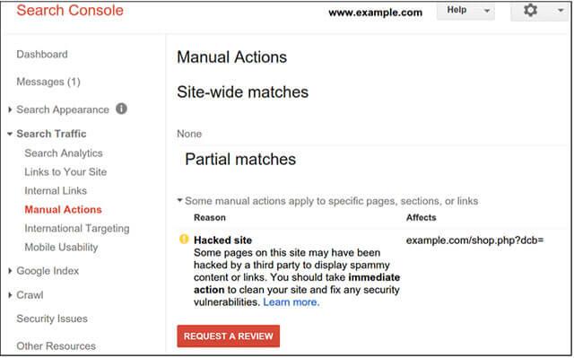 بخش manual action در گوگل سرچ کنسول