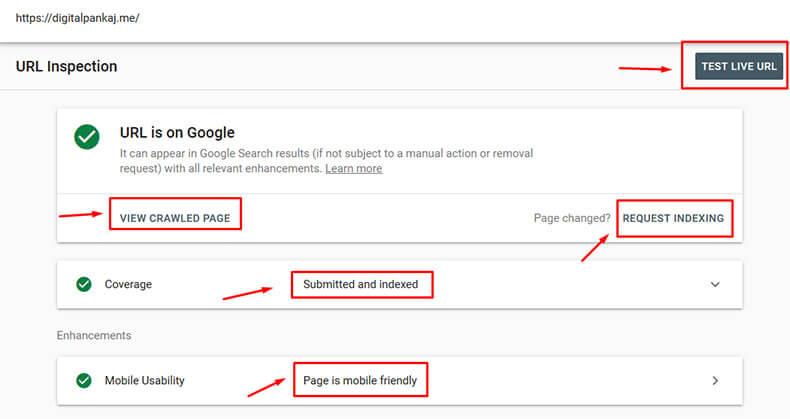 ابزار live test در گوگل سرچکنسول