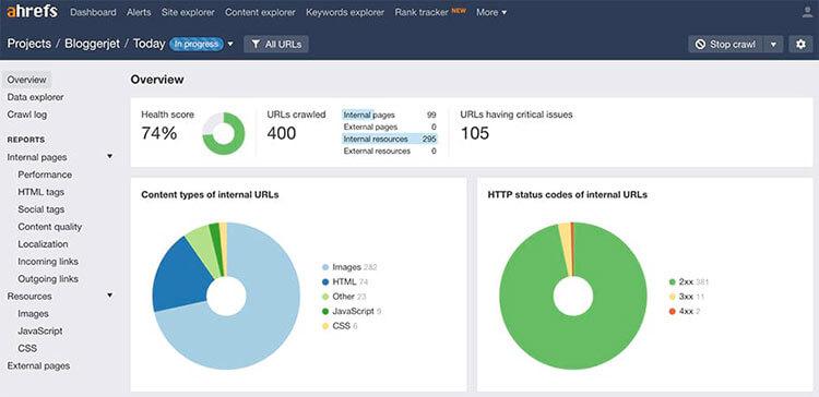 بخش site audit ابزار ahrefs