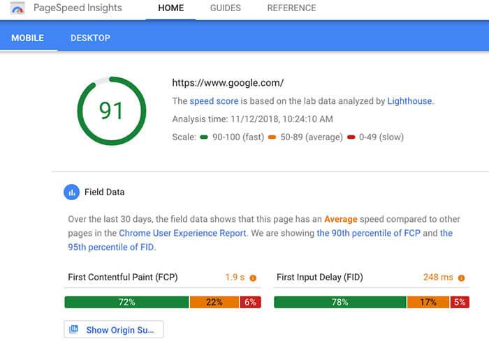 ابزار google page speed insight tools برای تست سرعت سایت